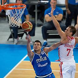 Alessandro Gentile #5 of Italy and Bojan Bogdanovic #7 of Croatia during basketball match between national team of Croatia and Italy of Eurobasket 2013 on September 14, 2013 in SRC Stozice, Ljubljana, Slovenia. (Photo By Matic Klansek Velej / Sportida.com)