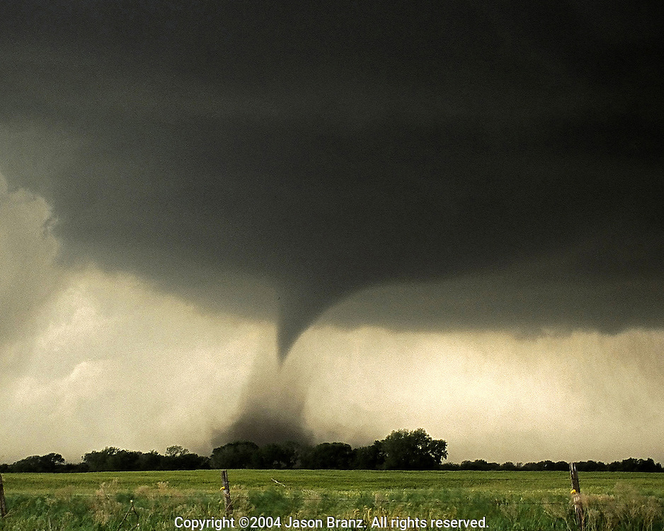 Tornado near sunset in southern Kansas.