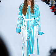 """London, England, UK. 15th September 2017. """"Ones to Watch"""" Ji Won Choi showcases latest collection at FASHION SCOUT SS18 at Freemasons Hall."""