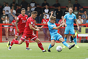 Danny Bulman and George Lloyd   during the EFL Sky Bet League 2 match between Crawley Town and Cheltenham Town at The People's Pension Stadium, Crawley, England on 31 August 2019.