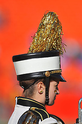 Nov 27, 2010; Kansas City, MO, USA; A member of the Missouri Tigers marching band performs for the crowd before the game against the Kansas Jayhawks at Arrowhead Stadium. Missouri won 35-7.  Mandatory Credit: Denny Medley-US PRESSWIRE