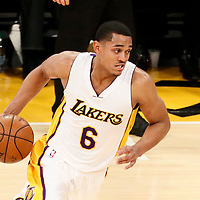 27 November 2016: Los Angeles Lakers guard Jordan Clarkson (6) drives during the Los Angeles Lakers 109-94 victory over the Atlanta Hawks, at the Staples Center, Los Angeles, California, USA.