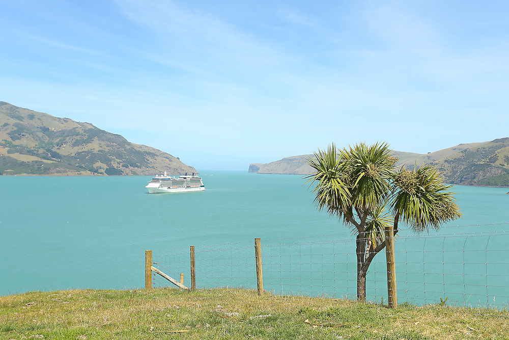 Cruise ship Celebrity Solstice anchored in Akaroa Harbour,  Wainui, New Zealand, Thursday,  14 January, 2016.  Credit: SNPA / Pam Carmichael