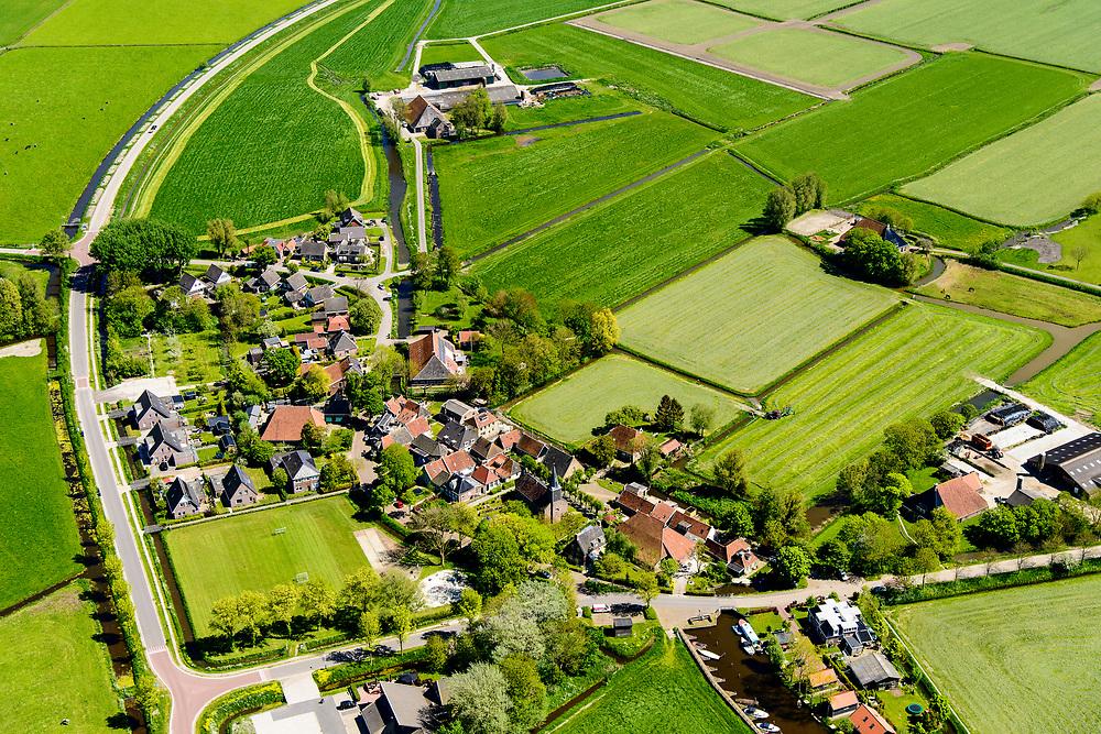 Nederland, Friesland,  gemeente Súdwest-Fryslân, 07-05-2018; Poppenwier.<br /> Frisian village Poppenwier. <br /> <br /> luchtfoto (toeslag op standard tarieven);<br /> aerial photo (additional fee required);<br /> copyright foto/photo Siebe Swart