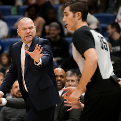 Jan 30, 2019; New Orleans, LA, USA; Denver Nuggets head coach Michael Malone argues with referee Jason Goldenberg (35) during the second quarter against the New Orleans Pelicans at the Smoothie King Center. Mandatory Credit: Derick E. Hingle-USA TODAY Sports