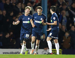 Lee Barnard Of Southend United celebrates scoring his sides second goal from the penalty spot - Photo mandatory by-line: Robin White/JMP - Tel: Mobile: 07966 386802 24/03/2014 - SPORT - FOOTBALL - Roots Hall - Southend - Southend United vs Oxford United - Sky Bet League 2