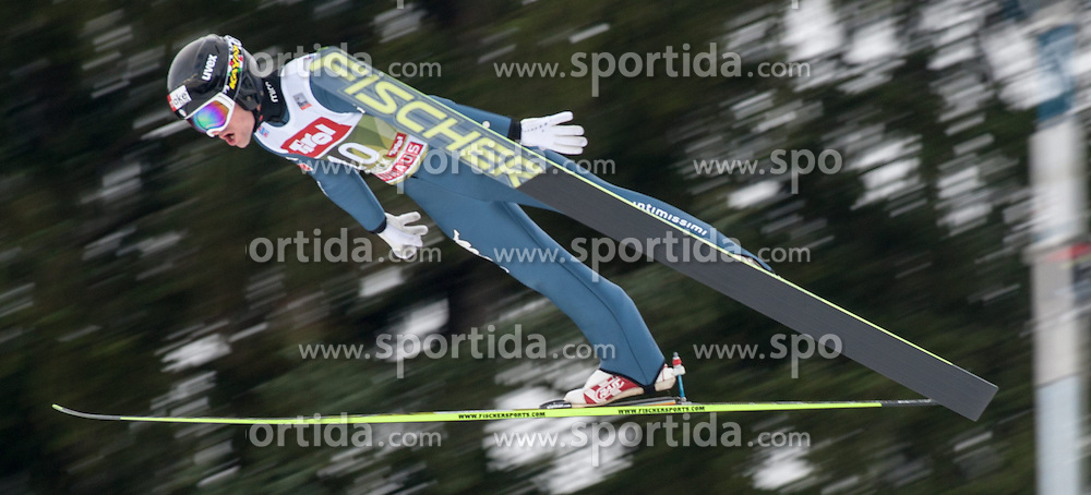 03.01.2015, Bergisel Schanze, Innsbruck, AUT, FIS Ski Sprung Weltcup, 63. Vierschanzentournee, Innsbruck, Training, im Bild Federico Cecon (ITA) // Federico Cecon of Italy soars through the air during a training session for the 63rd Four Hills Tournament of FIS Ski Jumping World Cup at the Bergisel Schanze in Innsbruck, Austria on 2015/01/03. EXPA Pictures © 2015, PhotoCredit: EXPA/ Jakob Gruber