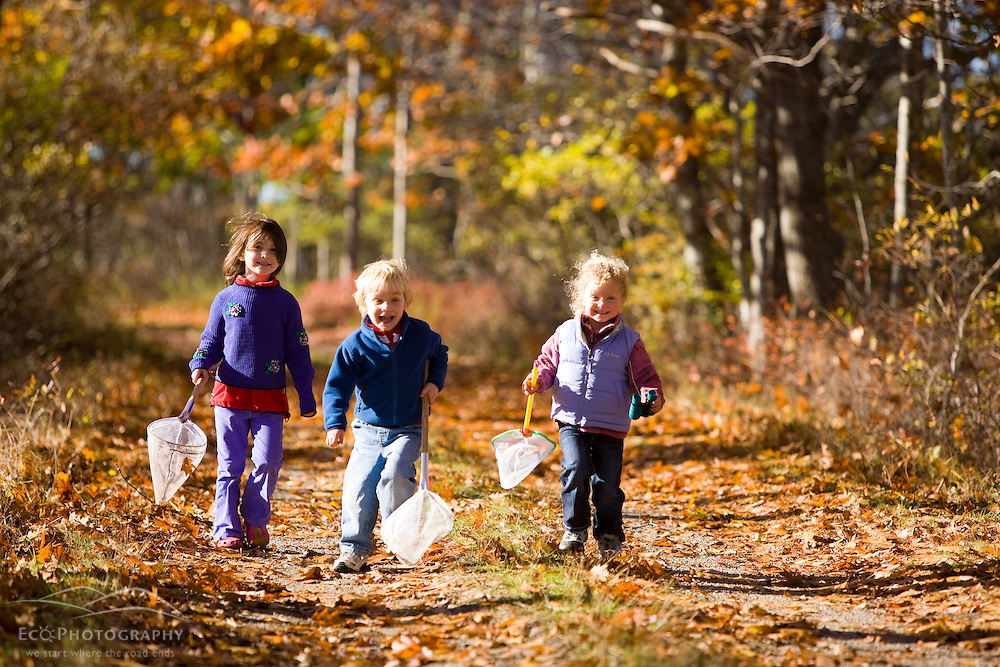 Three young children(ages 4 and 6) on a woodland trail in Biddeford, Maine.