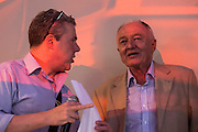 Mark Serrwotka, General Secretary of the PCS union, chats to Ken Livingstone - Jeremy Corbyn holds a campaign meeting as part of his Labour Party leadership challenge - with support of Ken Livingstone at the Camden Town Hall, London, UK 03 Aug 2015