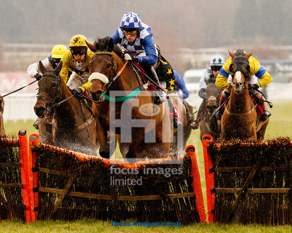 Paddy Bradley riding Right Step (Blue/White checks) wins the  EstatesDirect.com The 0% Commission Agent Conditional Jockeys' Handicap Hurdle at the Royal Artillery Gold Cup meeting at Sandown Park, Esher<br /> Picture by Mark Chappell/Focus Images Ltd +44 77927 63340<br /> 13/02/2015