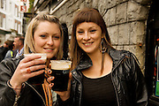 Isabelle Culleton and Aine McEvoy both from Laois at Taffe's Bar for Arthur's day Galway 2011celebrating Guinness . Photo:Andrew Downes.