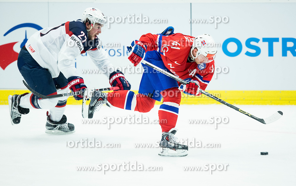 Justin Faulk of USA vs Patrick Thoresen of Norway during Ice Hockey match between Norway and USA at Day 2 in Group B of 2015 IIHF World Championship, on May 2, 2015 in CEZ Arena, Ostrava, Czech Republic. Photo by Vid Ponikvar / Sportida