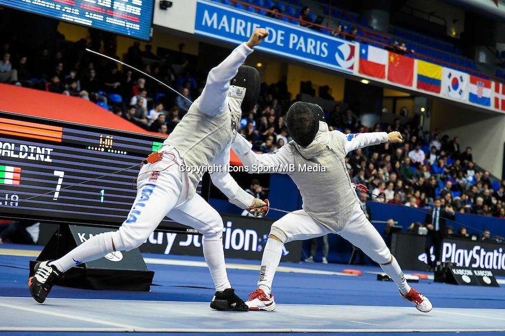 Andrea Baldini / Baptiste Mourrain - 17.01.2015 - Challenge International de Paris - Coupe du Monde - Fleuret Messieurs<br />Photo : Andre Ferreira / Icon Sport