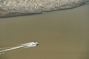 Speed boat for Oil Industry<br /> Napo River, Amazon Rainforest<br /> ECUADOR. South America
