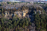 Aerial view of Gibraltar Rock near Lodi, Wisconsin in the winter on an overcast day.