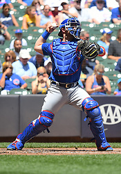 June 13, 2018 - Milwaukee, WI, U.S. - MILWAUKEE, WI - JUNE 13: Chicago Cubs Catcher Chris Gimenez (53) throws to 2nd during a MLB game between the Milwaukee Brewers and Chicago Cubs on June 13, 2018 at Miller Park in Milwaukee, WI. The Brewers defeated the Cubs 1-0.(Photo by Nick Wosika/Icon Sportswire) (Credit Image: © Nick Wosika/Icon SMI via ZUMA Press)