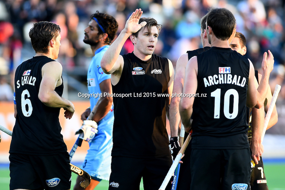 Black Sticks Men player Nick Haig celebrates his goal during their 2015 South Island Tour game between the New Zealand Black Sticks Men v India. Saxton Turf, Nelson, New Zealand. Tuesday 6 October 2015. Copyright Photo: Chris Symes / www.photosport.nz