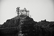 A police lookout point is seen on one of the Dokdo Islands, known to Japanese as Takeshima, sovereignty over which is disputed between Japan and South Korea, in the Sea of Japan on 22 June 2010..Photographer: Robert Gilhooly