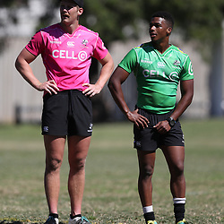 Louis Schreuder of the Cell C Sharks with Grant Williams of the Cell C Sharks during the Cell C sharks 2018 The Currie Cup Training at Jonsson Kings Park ,Durban.South Africa. 28,08,2018 (Photo by Steve Haag)