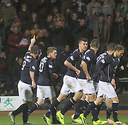 Peter MacDonald acknowledges the fans after scoring the opener for Dundee - Dundee v Dumbarton, SPFL Championship at Dens Park<br /> <br />  - &copy; David Young - www.davidyoungphoto.co.uk - email: davidyoungphoto@gmail.com