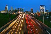 Philadelphia Skyline, West, car light streaks, Comcast Center (l) and Cira (r), BNY Mellon Center, Bell Atlantic Tower