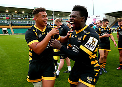 Gabriel Oghre of Wasps and Christian Wade of Wasps celebrate winning the Premiership Rugby 7s - Mandatory by-line: Robbie Stephenson/JMP - 29/07/2017 - RUGBY - Franklin's Gardens - Northampton, England - Wasps v Newcastle Falcons - Singha Premiership Rugby 7s
