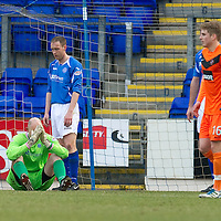 St Johnstone v Dundee United...11.02.12.. SPL<br /> Peter Enckelman holds his head in his hands after his howler gifted Dundee Utd the lead<br /> Picture by Graeme Hart.<br /> Copyright Perthshire Picture Agency<br /> Tel: 01738 623350  Mobile: 07990 594431