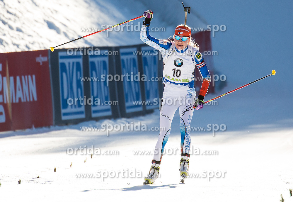 Kaisa Makarainen (FIN) at finish line during Women 10 km Pursuit at day 3 of IBU Biathlon World Cup 2015/16 Pokljuka, on December 19, 2015 in Rudno polje, Pokljuka, Slovenia. Photo by Vid Ponikvar / Sportida
