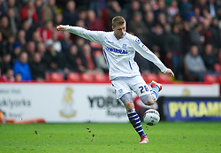SHEFFIELD, ENGLAND - Saturday, March 17, 2012: Tranmere Rovers' Ryan Brunt in action against Sheffield United during the Football League One match at Bramall Lane. (Pic by David Rawcliffe/Propaganda)