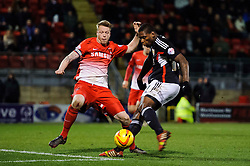 Bristol City Midfielder Jay Emmanuel-Thomas (ENG) shoots past Leyton Orient Defender Nathan Clarke (ENG) - Photo mandatory by-line: Rogan Thomson/JMP - 07966 386802 - 11/02/2014 - SPORT - FOOTBALL - The Matchroom Stadium, London - Leyton Orient v Bristol City - Sky Bet Football League 1.