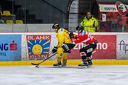 19.03.2019, Ice Rink, Znojmo, CZE, EBEL, HC Orli Znojmo vs Vienna Capitals, Viertelfinale, 4. Spiel, im Bild v.l. Sondre Olden (Vienna Capitals) Patrik Novak (HC Orli Znojmo) // during the Erste Bank Icehockey 4nd quarterfinal match between HC Orli Znojmo and Vienna Capitals at the Ice Rink in Znojmo, Czechia on 2019/03/19. EXPA Pictures © 2019, PhotoCredit: EXPA/ Rostislav Pfeffer