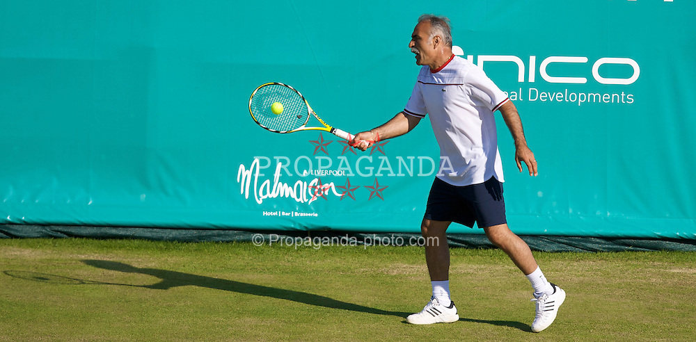 LIVERPOOL, ENGLAND - Thursday, June 12, 2008: Mansour Bahrami (IRN) in action during the Legends' Doubles on Day Three of the Tradition-ICAP Liverpool International Tennis Tournament at Calderstones Park. (Photo by David Rawcliffe/Propaganda)