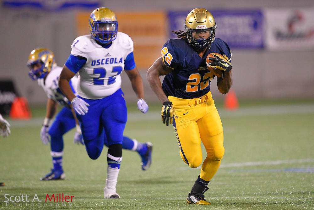 St. Thomas Aquinas running back Jordan Scarlett (22) during the Florida State High School Class 7A state championship game at the Citrus Bowl on Dec. 12, 2014 in Orlando, Florida.<br /> <br /> &copy;2014 Scott A. Miller