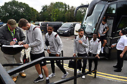 Crawley Town players get off the team bus on arrival at The New Lawn stadium ahead of the EFL Sky Bet League 2 match between Forest Green Rovers and Crawley Town at the New Lawn, Forest Green, United Kingdom on 5 October 2019.