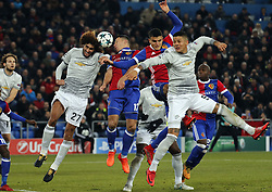 BASEL, Nov. 23, 2017  Manchester United's Marouane Fellaini (2nd L) vies with Basel's Marek Suchy (3rd L) during the UEFA Champions League group A match between Basel and Manchester United in Basel, Switzerland, Nov. 22, 2017. Basel won 1-0. (Credit Image: © Ruben Sprich/Xinhua via ZUMA Wire)