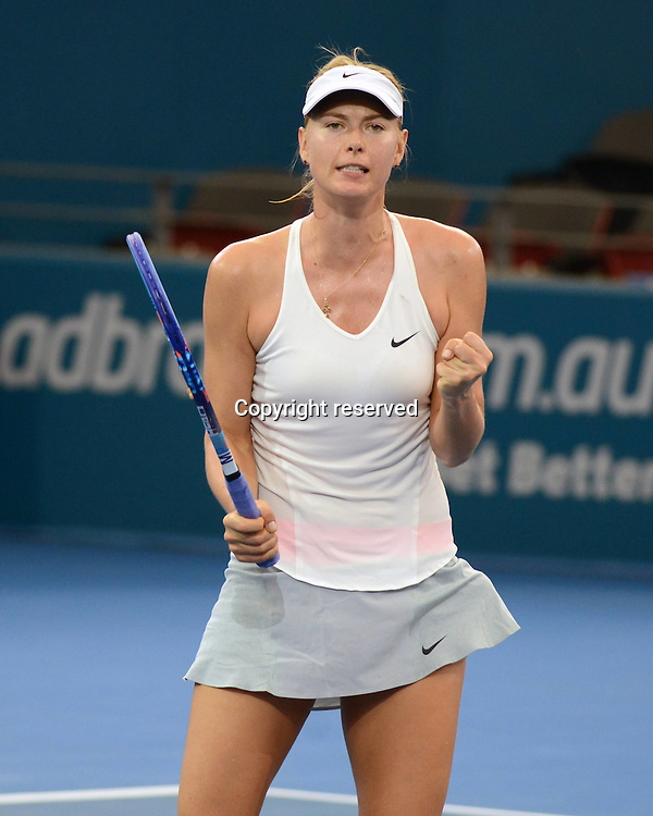 08.01.2014. Brisbane, Queensland, Australia.  Maria Sharapova (RUS) celebrates her win at the Brisbane International 2015,
