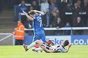 RED CARD Ian Henderson sent off two footed challenge on Gwion Edwards during the EFL Sky Bet League 1 match between Peterborough United and Rochdale at London Road, Peterborough, England on 14 April 2018. Picture by Daniel Youngs.