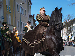 02.04.2018, Traunstein, GER, Georgi Ritt Traunstein 2018, im Bild Burgfräulein // during the traditionell Georgi Ritt on Easter Monday in. in Traunstein, Germany on 2018/04/02. EXPA Pictures © 2018, PhotoCredit: EXPA/ Erst Wukits