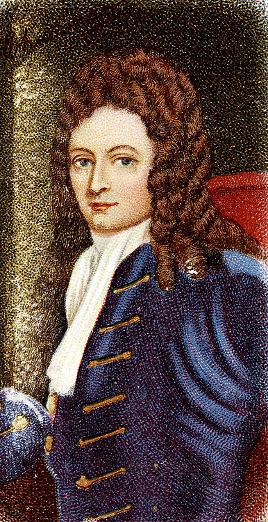 Christopher Wren (1632-1723) English architect, mathematician and physicist. Early 20th century chromolithograph after portrait by Kneller.