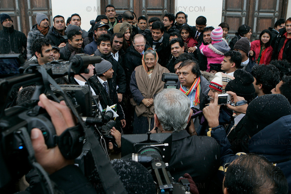 LUND, SWEDEN - 19 December 2009: The Prime Minister of Bangladesh, Sheikh Hasina arrives to give a speech at Lund University, Sweden about climate changes and adherent challenges in Bangladesh. The lecture is given after what many see as failed negotiations at the COP 15 Summit in Copenhagen, Denmark earlier during the same morning. (Photograph: Sonny Johansson/MAVERICK)