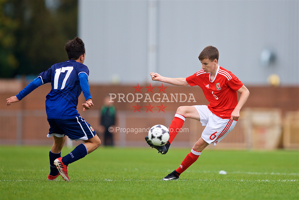 NEWPORT, WALES - Sunday, September 24, 2017: Wales' Owen Hesketh during an Under-16 International friendly match between Wales and Gibraltar at the Newport Stadium. (Pic by David Rawcliffe/Propaganda)