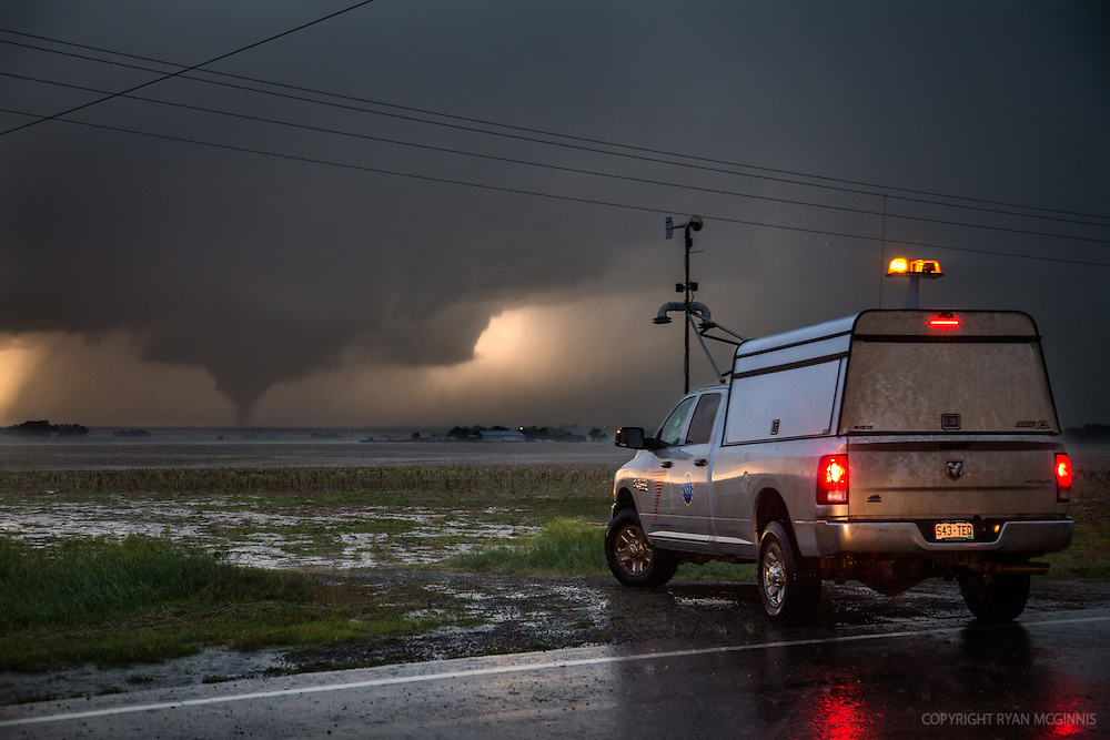 Scientist and Engineer Tim Marshall observes a tornado inside Scout 3 while working with Project TWIRL, a scientific mission to place atmospheric probes directly in the path of a tornado as nearby radar trucks scan the storm, May 24, 2016, near Dodge City, Kansas.