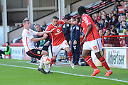 Walsall striker Milan Lalkovic skips past Crewe Alexandra midfielder Ryan Colclough during the Sky Bet League 1 match between Walsall and Crewe Alexandra at the Banks's Stadium, Walsall, England on 26 September 2015. Photo by Alan Franklin.