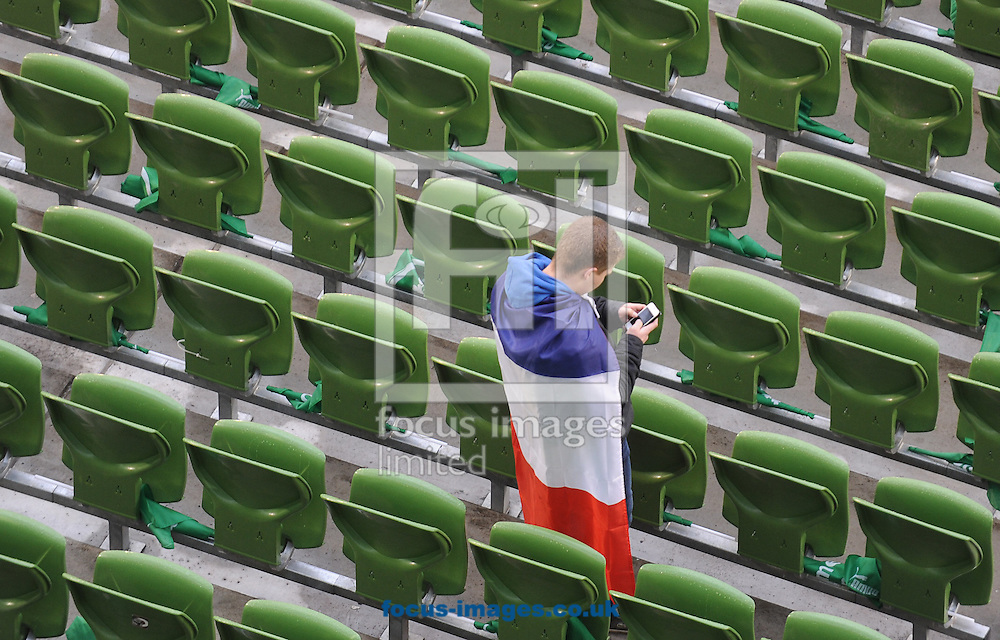 Picture by Ramsey Cardy/Focus Images Ltd +44 7809 235323.09/03/2013.A French fan before Ireland Rugby Union and France Rugby Union RBS 6 Nations match at the Aviva Stadium, Dublin.