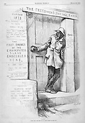 "THE FREEDMENS SAVINGS BANK ""Waiting, A debt that the Republican party ought to wipe out"" Nast political cartoon on the 1879 Cover on race relations and abuse of blacks in the south  Harper's Weekly March 29, 1879 page politics, satire"