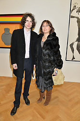 ALEXANDRA SHULMAN and her son SAM SPIKE at the opening private view of 'A Strong Sweet Smell of Incense - A portrait of Robert Fraser, held at the Pace Gallery, Burlington Gardens, London on 5th February 2015.