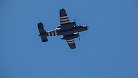 """North American B-25 Mitchell, """"Grumpy"""" flying at Warbirds Over the West."""