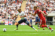 Tottenham Hotspur Midfielder Lucas (27) and Fulham Defender Maxime Le Marchand (20) in action an during the Premier League match between Tottenham Hotspur and Fulham at Wembley Stadium, London, England on 18 August 2018.