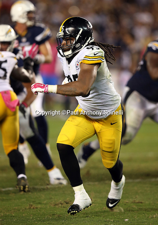 Pittsburgh Steelers outside linebacker Jarvis Jones (95) rushes during the 2015 NFL week 5 regular season football game against the San Diego Chargers on Monday, Oct. 12, 2015 in San Diego. The Steelers won the game 24-20. (©Paul Anthony Spinelli)