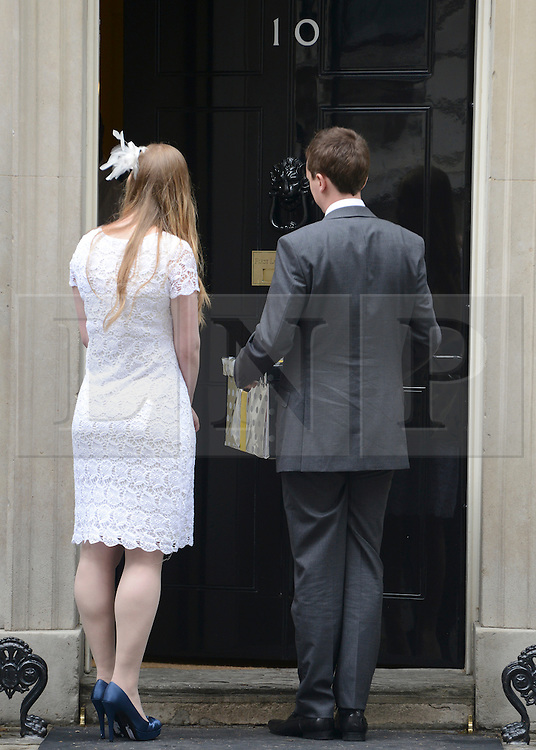 © Licensed to London News Pictures. 12/06/2012. Westminster, UK Ryhs and Esther Curnow, newlyweds hand in the petition. The coalition for Marriage (C4M) hand in a petition on Downing Street today 12 June 2012 calling on the government to not to redefine the rules on marriage, allowing same sex couples to marry. Photo credit : Stephen Simpson/LNP